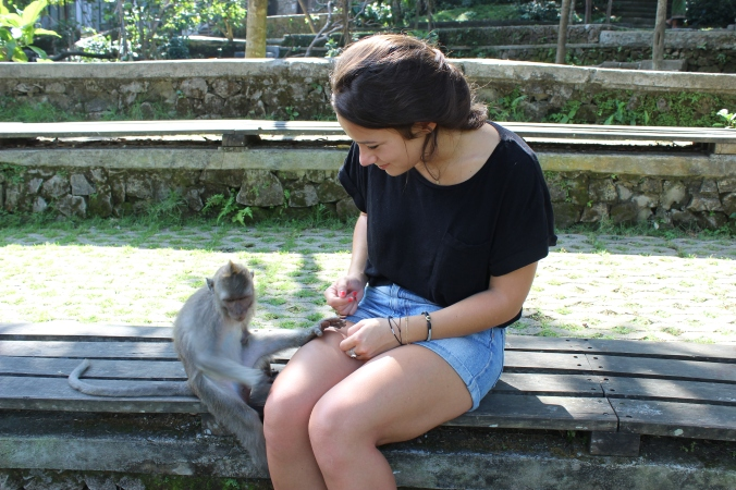 Monkey Forest, Ubud. Marcel aimera bien me voler quelque chose mais j'ai pris mes précautions, dommage !